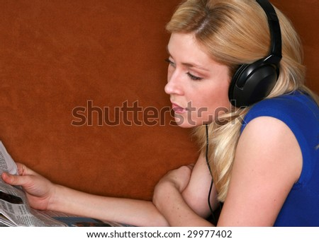 blond model relaxing with music
