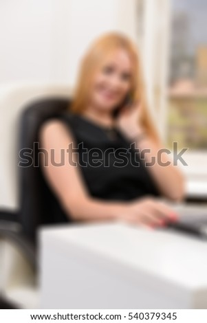 Blond office woman theme creative abstract blur background with bokeh effect