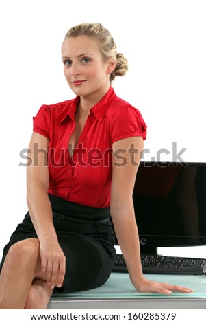 Blond personal assistant - stock photo