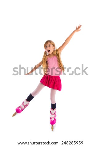 blond pigtails roller skate girl full length dancing balance on white background - stock photo