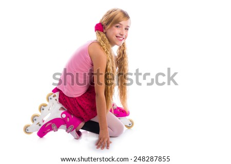 blond pigtails roller skate girl on her knees happy on white background - stock photo