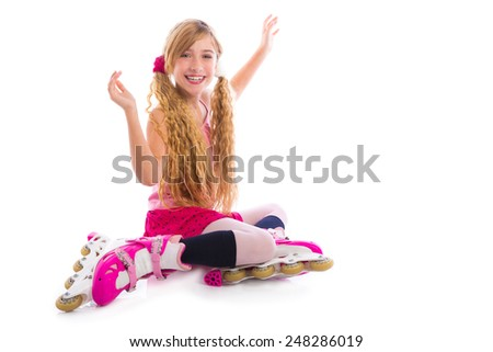 blond pigtails roller skate girl sitting happy on white background - stock photo
