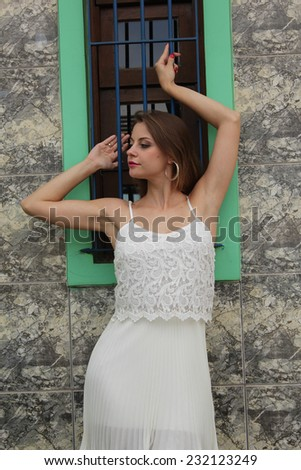 Blond pretty girl posing on a rustic wooden window - stock photo