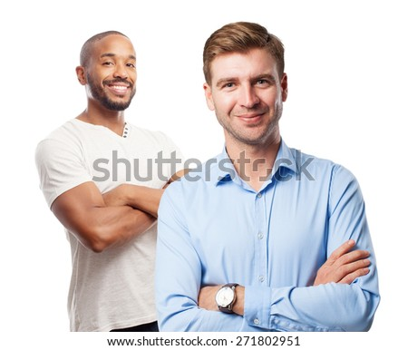 blond satisfied man - stock photo