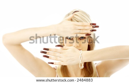 blond with long nails over white background - stock photo