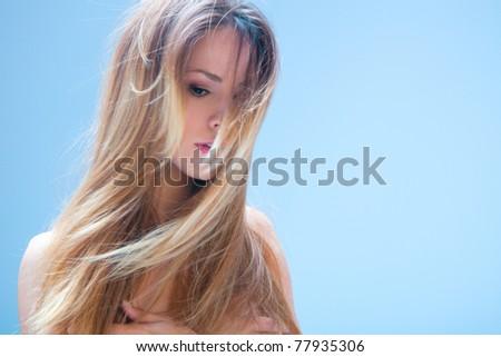 blond woman beauty and hair portrait, studio shot - stock photo