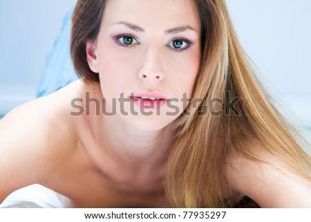 blond woman beauty  portrait, studio shot - stock photo