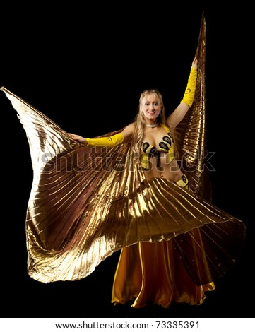 Blond woman dance with gold wing