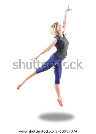blond woman dancer jumping isolated over white - stock photo