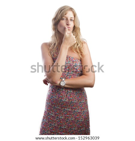blond woman doubting - stock photo