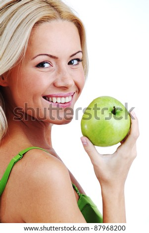 blond woman eat green apple on white