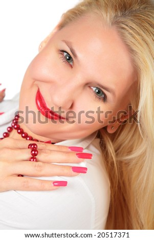 blond woman face with nails - stock photo