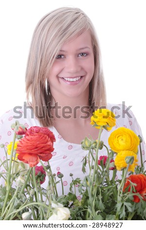 Blond woman hiding behind colorful flowers isolated on white background
