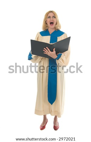 Blond woman in a choir robe holding a music folder and singing. - stock photo