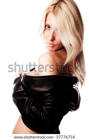 blond woman in black jacket, studio white - stock photo