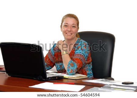 blond woman in casual cloth at the office desk isolated over white