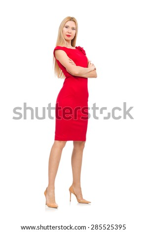 Blond woman in scarlet dress isolated on white - stock photo