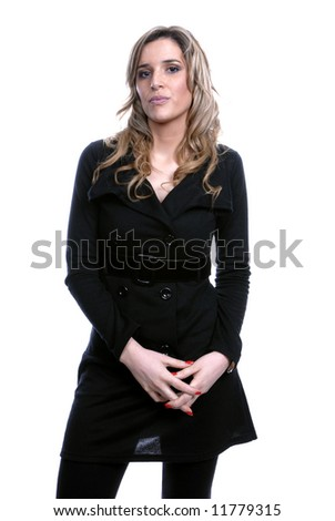 blond woman portrait isolated over white