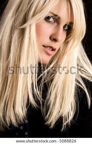 blond woman portrait, studio shot - stock photo