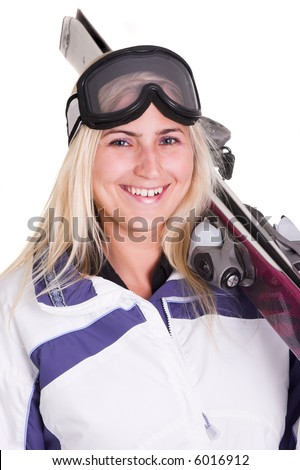 Blond woman ready for the ski season. Isolated on white.