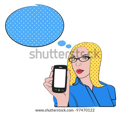 Blond woman with cell phone in pop art style - stock photo