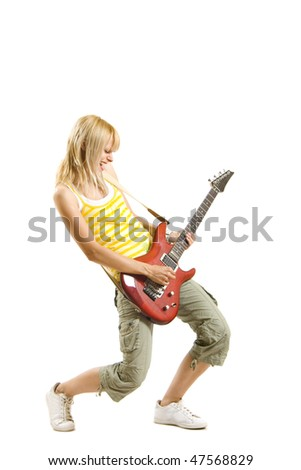 blond woman with guitar on white background