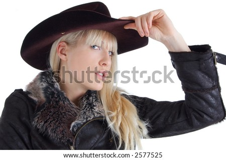 blond woman with hat