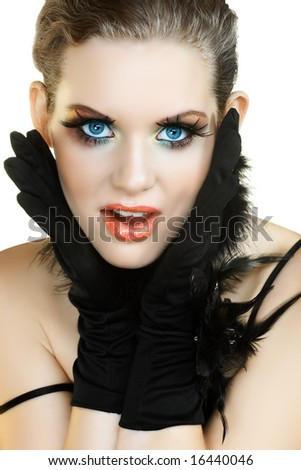 blond woman with long fashion false eyelashes screaming in surprise - stock photo