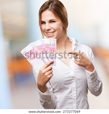 blond woman with money