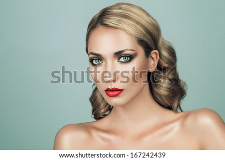 blond woman with red lips