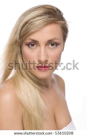 blond women on white isolated background - stock photo