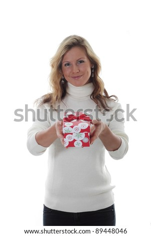 Blond women presents christmas gifts