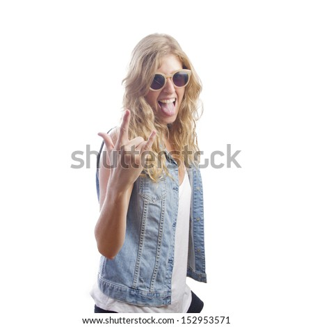 blond young pretty woman with cool gesture - stock photo
