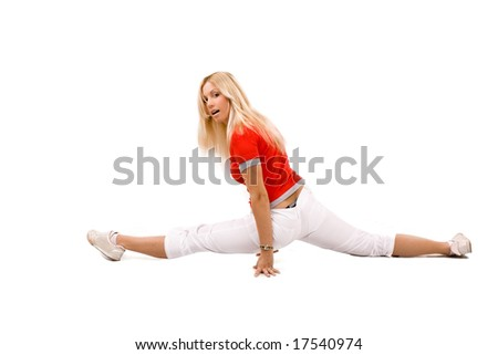 blond young woman exercise, isolated - stock photo