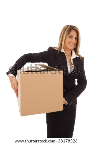 Blond young woman holding a cardboard box - stock photo