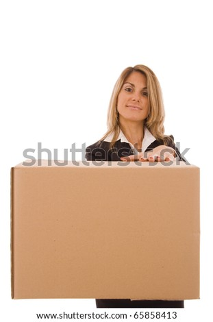 Blond young woman holding a cardboard box (with space for text) - stock photo