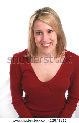 blonde adult woman with beautiful skin smiling