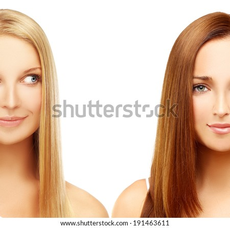 Blonde and brunette - stock photo