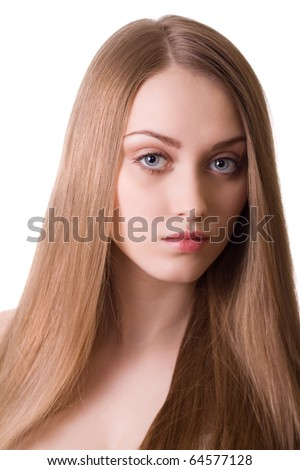 blonde beautiful woman with long hair portrait on white background - stock photo