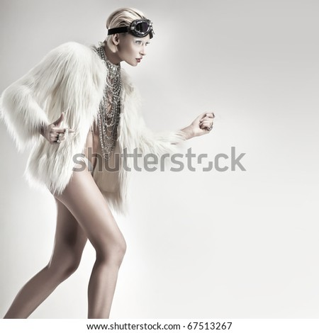 Blonde beauty running - stock photo