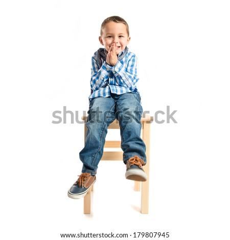 Blonde boy pleading over isolated white background  - stock photo