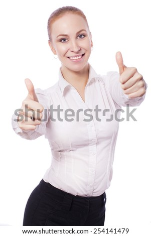 Blonde business woman manager worker smiles and shows thumbs up. isolated on white