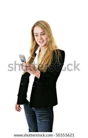 blonde business woman or student texting with cell phone - stock photo