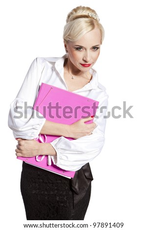 Blonde business woman with a pink folder on a white background - stock photo