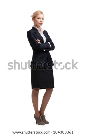 Blonde businesswoman in a black suit, isolated on white background - stock photo