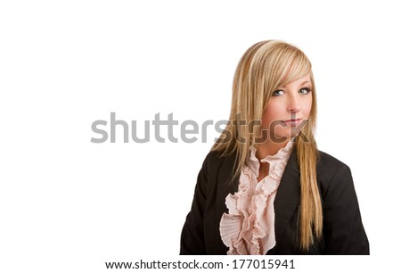 Blonde Businesswoman in Suit Coat - stock photo