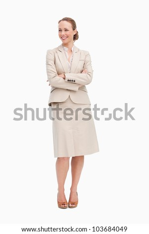 Blonde businesswoman smiling against white background - stock photo