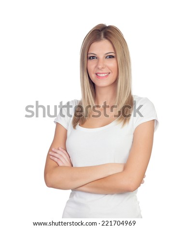 Blonde casual girl isolated on a white background