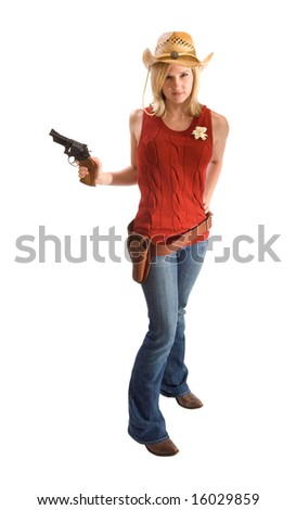 Blonde cowgirl with revolver