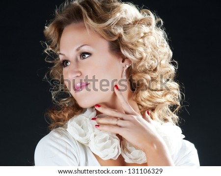Blonde curly woman
